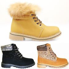 KIDS GIRLS BOY WINTER WARM LACE UP GRIP SOLE ANKLE BOOTS TRAINERS SHOES SIZE NEW