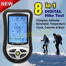 8in1 Multifunction Digital Altimeter Barometer Compass Clock Thermometer Hiking