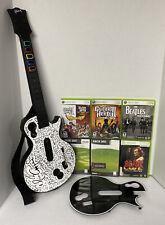 Xbox 360 Les Paul Wireless Guitar Bundle 7 Gms Guitar Hero Rock Band ***READ***