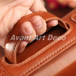 Brown Men PU Leather Travel Toiletries Cosmetic Bag Shaving Wash Case Organizer