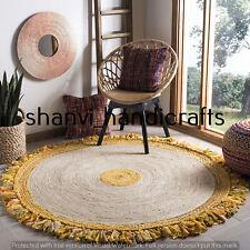 Braided Hand Woven Natural Handmade Jute & Cotton 9 Feet Floor Area Rugs Carpet