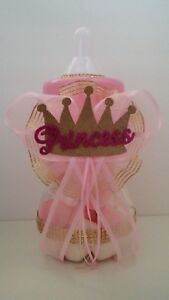 Princess Centerpiece Bottle with Crown Baby Shower It's a Girl Piggy Bank  Decor