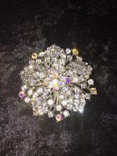 Aurora Borealis Silver Tone Brooch *Wow* A Sublime Quality Rhinestone &