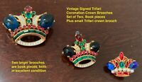 VINTAGE SET of THREE CROWN TRIFARI SIGNED CORONATION CROWN BROOCHES