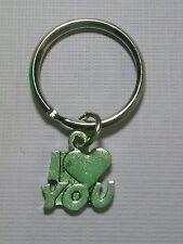 Tibetan Silver Keyring/Bag Charm I LOVE YOU. Birthday Gift/Present.