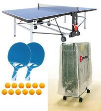 Tischtennisplatte outdoor Sponeta S 5-73 e blau im Set mit Hülle u Schlägerset