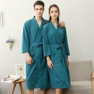 Womens Mens Robe Sweat Bathrobe Casual Home Nightgowns Loose Cotton Bath Belt