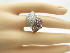 14kt W/G GENUINE 2.00ct DIAMOND & RUBY DOLPHIN ONE OF A KIND RING