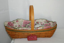 New Listing2001 Longaberger Peony Basket, Fabric, Protector, Tie-On, Card