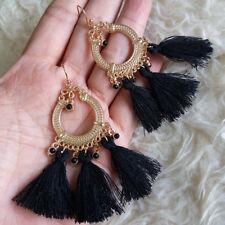 Dangle Drop Gold-Tone Hook Earrings Womens Bohemian Hippy Black Tassels Beads