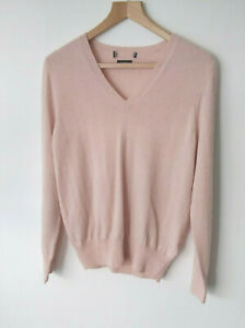 EX M&S Pure Cashmere V Neck Jumper with Ribbed hem and Cuffs In Blush Pink