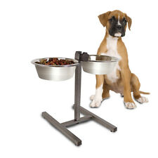 Double Diner Raised Dog Bowls Food Water Feeding Dishes Adjustable Stand Large