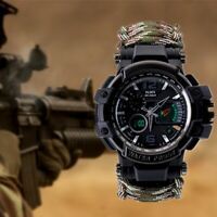 Outdoor Survival Military Watch Waterproof Camping Emergency Tactical Paracord