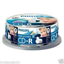 1000 CD -R PHILIPS Vergini Vuoti 80 Minuti 700MB 52X Print Stampabili CR7D5JB25