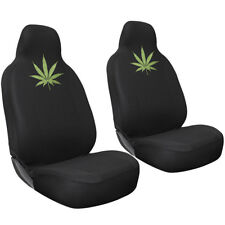 2pc Green 420 Weed Marijuana Leaf Integrated High Back Front Car Seat Cover Set