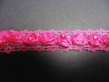 Fushia Pink Organza Rose & Pearl LaceTrim 1 Metre Sewing/Costume/Crafts/Corsetry