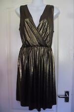 GEORGE GLAM SHIMMERY GOLD CROSS OVER V-NECK OCCASION DRESS SIZE 12 BNWT L@@K!!!!
