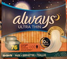Always Ultra Thin Overnight Pads with Wings (76 ct.) =FREE SHIPPING=