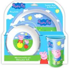 Peppa Pig: Peppa and George 3-Piece Dinner Set | Tumbler, Bowl and Plate