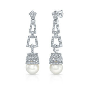 Pearl Diamond Art Deco Dangling Drop Earrings 18k White Gold Natural White Round