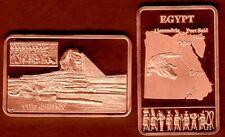 ★★ JOLI LINGOT PLAQUE CUIVRE ● L'EGYPTE, SPHINX, PYRAMIDES, CROCODILE ★
