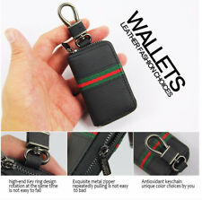 Styling-Black PU Leather Car Key Case Key Bag Keychain Covers Zipper Wallets Bag