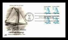 DR JIM STAMPS US ICE BOAT TRANSPORTATION COIL FIRST DAY COVER STRIPS