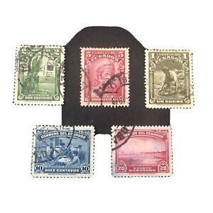 ECUADOR, SCOTT # 361-365(5), COMPLETE SET 1937 PICTORIAL ISSUE USED
