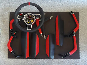 PORSCHE CAYENNE CARBON FIBER LEATHER RED ALCANTARA  STEERING WHEEL GRAB HANDEL
