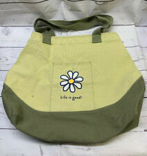 Life Is Good Flower Large Canvas Tote Green Bag