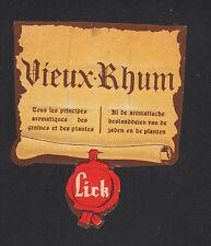 """ETIQUETTE de RHUM / RHUM VIEUX """"LICK"""" , STYLE PARCHEMIN"""