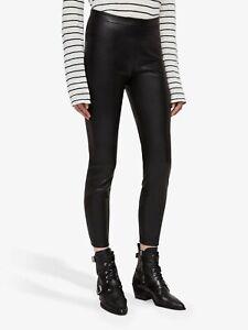 All Saints Womens Isla Black Designer High Rise Skinny Faux Leather Leggings New