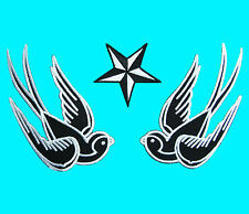 3 Lot SWALLOW & STAR Love Bird Embroidered Iron Sew On Patch Binker Applique