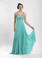 New SUE WONG $529 aqua blue pageant prom formal Pleated cocktail social dress 6