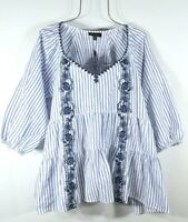 New Women's Blue & White Stripe Peasant Blouse Shirt Boho Embroidered Top 1X NWT
