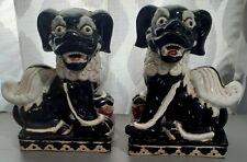 New listing Pair Of Ceramic Mid Century Chinese Foo Dogs Black & White