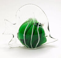 Hand Blown Art Glass Angel Fish Paperweight Green White Unmarked A124