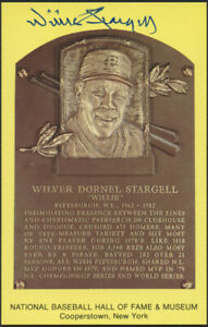 Pirates Willie Stargell Signed Gold Hall of Fame Plaque Postcard (JSA COA) Pops