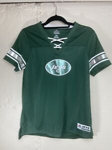 NFL NY Jets Womens Jersey Green Size M NWT Lace Up V Neck