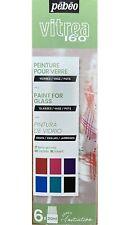 Pebeo Vitrea 160 Verre Peinture 6 X 20ml Eau Base Four Cuisson Brillant Couleur