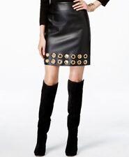 NEW(M115) INC International Concepts Grommet-Trim Faux-Leather Skirt Sz 8 $99.50
