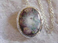 CHRISTMAS Hummingbird Rose Locket Antique Silver Necklace Porcelain Cameo Memory