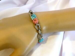 1930s TRIFARI A Philippe Pink & Turquoise Fruit Salad & Rhinestone Deco Bracelet