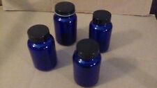 Four (4) Stunning Cobalt Blue Glass Jars with Screw Top Lids