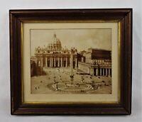Rare Antique 19th C Photograph Print of St. Peter's Basilica Piazza Vatican City