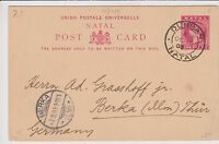 NATAL 1903 POSTAL CARD sent from Durban to BERKA, GERMANY
