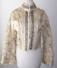 SHARE SPIRIT Tan Wavy Sheep Fur Sequin Jacket Coat 40 4  6