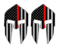 Firefighter Thin Red Line Spartan Helmet Flags Decals Stickers Hard Hat American