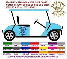 GOLF CART SECURITY VEHICLE LETTERING DECALS - FREE SHPN