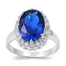 Oval Solitaire Ring with Blue Sapphire CZ Silver Rhodium Plated Jewelry Size 8